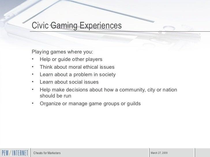 Civic Gaming Experiences <ul><li>Playing games where you: </li></ul><ul><li>Help or guide other players </li></ul><ul><li>...