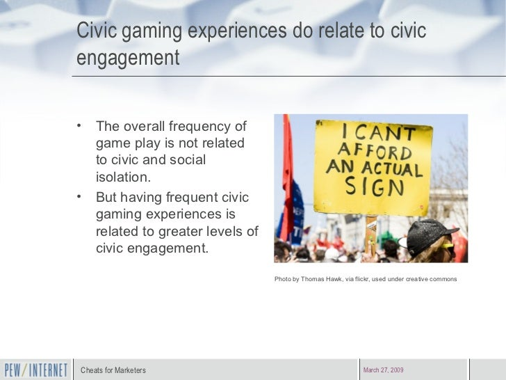 Civic gaming experiences do relate to civic engagement <ul><li>The overall frequency of game play is not related to civic ...