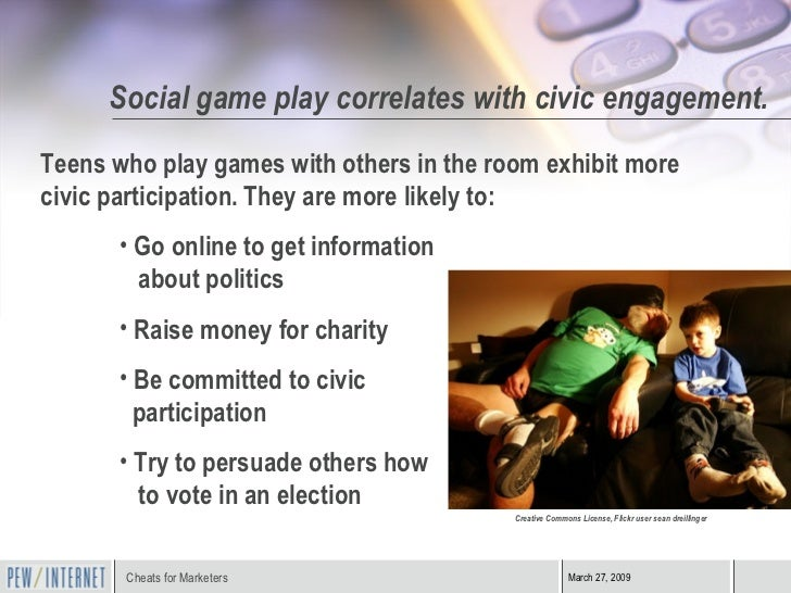Social game play correlates with civic engagement. <ul><li>Teens who play games with others in the room exhibit more civic...