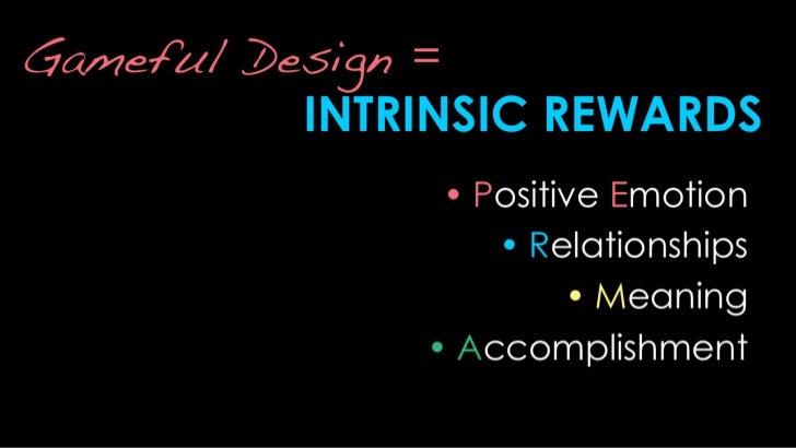 Gameful Design =INTRINSIC REWARDS<br />Positive Emotion<br />Relationships<br />Meaning<br />Accomplishment<br />