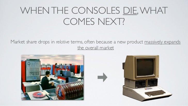 WHEN THE CONSOLES DIE, WHAT           COMES NEXT?Market share drops in relative terms, often because a new product massive...