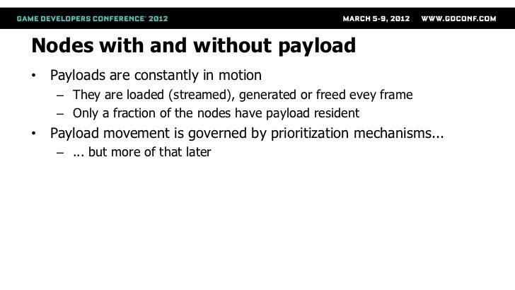 Nodes with and without payload• Payloads are constantly in motion   – They are loaded (streamed), generated or freed evey ...