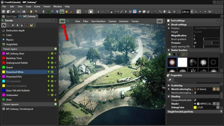 Real time editing in FrostEd• FrostEd is Frostbite editor• Game View is game rendering inside editor• Terrain editing with...