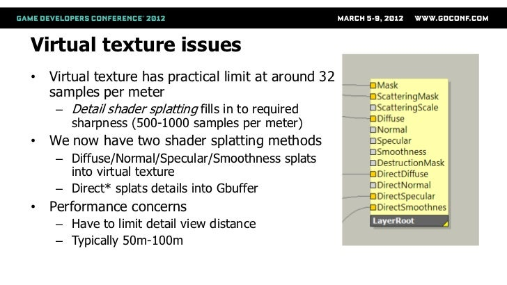 Virtual texture issues• Virtual texture has practical limit at around 32  samples per meter    – Detail shader splatting f...