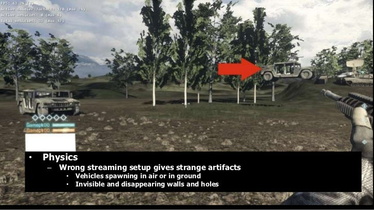 •   Physics    – Wrong streaming setup gives strange artifacts        •   Vehicles spawning in air or in ground        •  ...