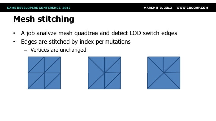 Mesh stitching• A job analyze mesh quadtree and detect LOD switch edges• Edges are stitched by index permutations   – Vert...