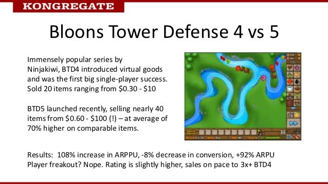 Bloons Tower Defense 4 vs 5Immensely popular series byNinjakiwi, BTD4 introduced virtual goodsand was the first big single...