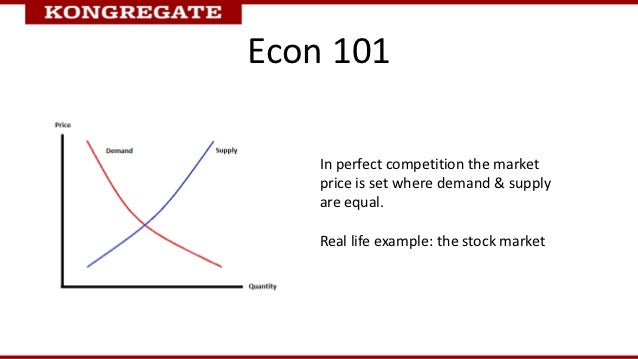 Econ 101    In perfect competition the market    price is set where demand & supply    are equal.    Real life example: th...