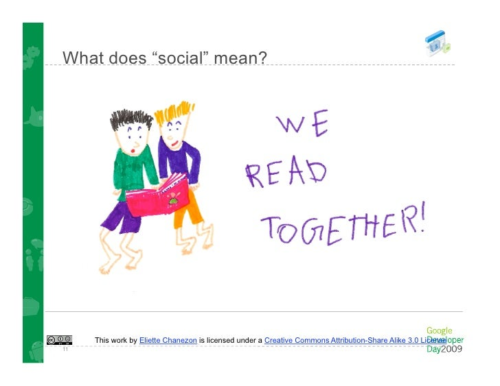 "What does ""social"" mean?          This work by Eliette Chanezon is licensed under a Creative Commons Attribution-Share Ali..."