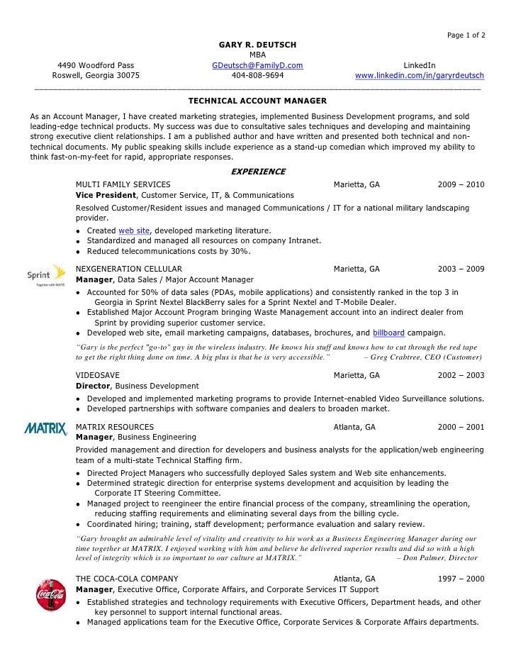 Account Manager Resume. GARY R. DEUTSCHMBAu003cbr /u003e4490 Woodford Passu003cbr  /u003eRoswell ...  Resume For Account Manager