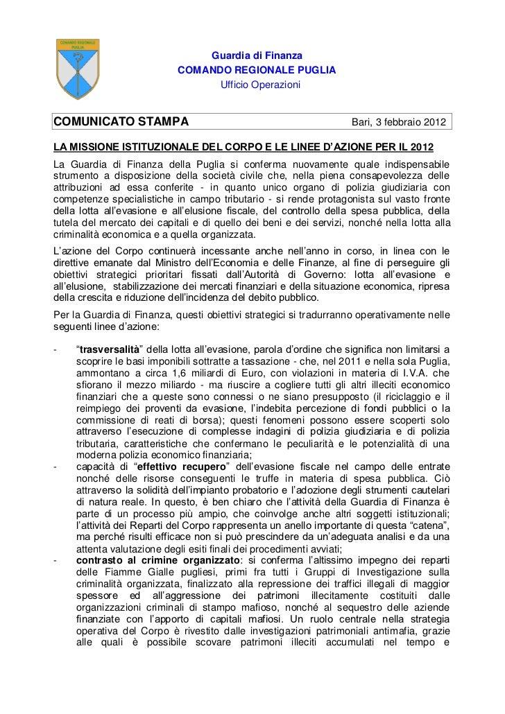 Guardia di Finanza                            COMANDO REGIONALE PUGLIA                                  Ufficio Operazioni...
