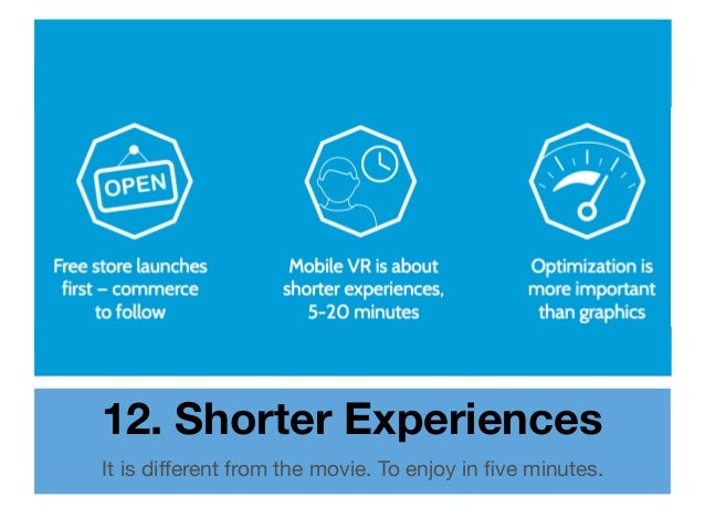 12. Shorter Experiences It is different from the movie. To enjoy in five minutes.
