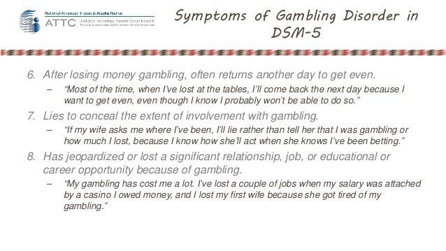 Gambling disorder symptoms