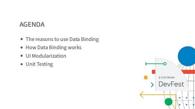 AGENDA Korea ● The reasons to use Data Binding ● How Data Binding works ● UI Modularization ● Unit Testing