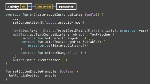 override fun onCreate(savedInstanceState: Bundle?) { ... setContentView(R.layout.activity_main) textView.text = String.for...