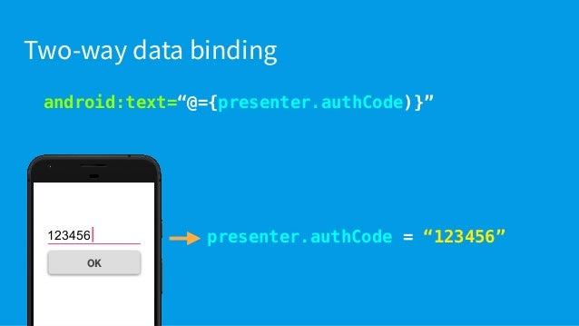 "android:text=""@={presenter.authCode)}"" InverseBindingAdapter in ActivityMainBinding.java @InverseBindingAdapter(attribute ..."