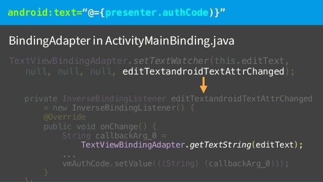 "android:text=""@={presenter.authCode)}"" Default BindingAdapters android.databinding.adapters @BindingMethods({ @BindingMeth..."