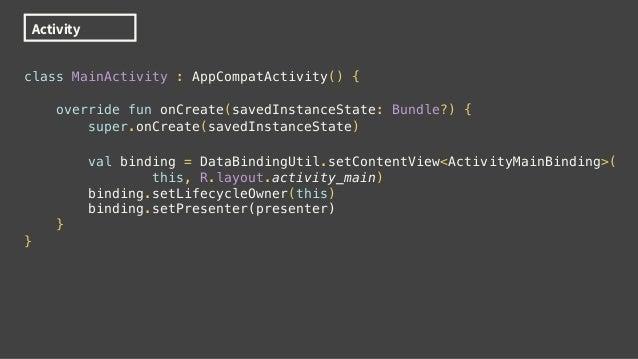 "class MainPresenter { var year : String val authCode = MutableLiveData<String>() init { year = ""2018"" } fun login() { // d..."