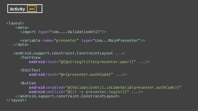 Activity view xml Presenter Data Binding AS-IS : MVP with Data Binding