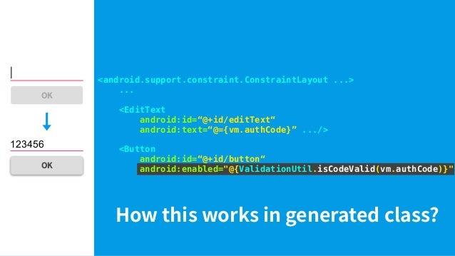 "activity_main.xml <layout> <data> <import type=""com....ValidationUtil""/> <variable name=""vm"" type=""com...MainViewModel""/> ..."