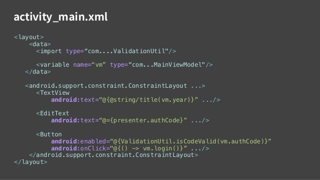 ActivityMainBinding.java Layout Processor public class ActivityMainTestBinding extends android.databinding.ViewDataBinding...