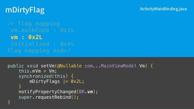 ActivityMainBinding.java flag initialized : 0x4L class MainActivity : AppCompatActivity() { override fun onCreate(savedIns...