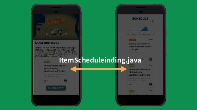 """Includes binding.schedule = SpeakerSchedule(""""KimKevin"""", """"Android..."""") <include android:layout=""""@layout/item_schedule"""" app:..."""