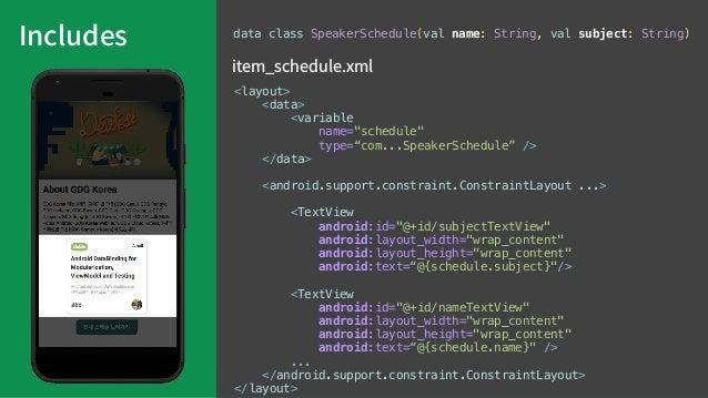 "Listing & BindingAdapter @BindingAdapter(""schedules"") fun setSchedules(container: LinearLayout, schedules: List<SpeakerSch..."