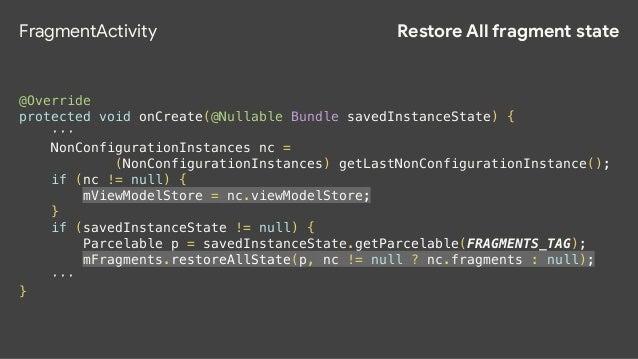 Restore All fragment state FragmentController public void restoreAllState(Parcelable state, FragmentManagerNonConfig nonCo...