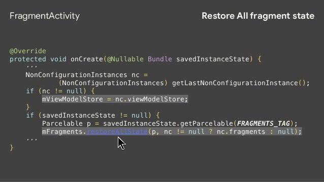 FragmentManager void restoreAllState(Parcelable state, FragmentManagerNonConfig nonConfig) { ··· if (nonConfig != null) { ...