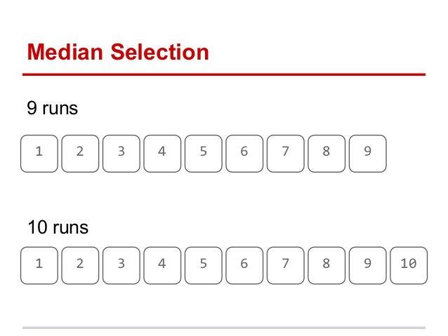 1 2 3 4 5 6 7 8 99 runsMedian Selection1 2 3 4 5 6 7 8 9 1010 runs