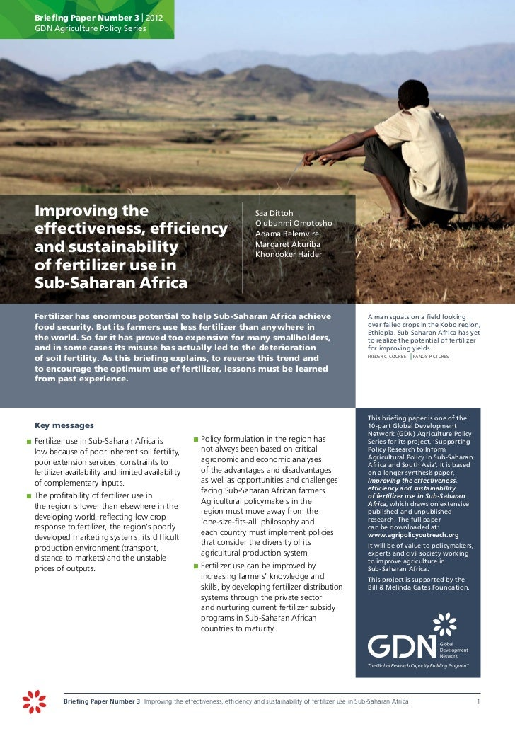 Briefing Paper Number 3 | 2012       GDN Agriculture Policy Series Improving the                                         ...