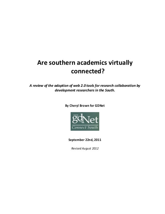 Are southern academics virtually connected? A review of the adoption of web 2.0 tools for research collaboration by develo...