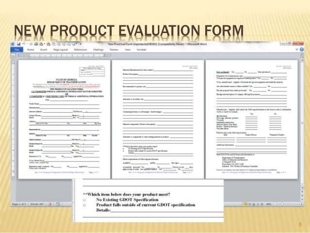 Product evaluation form new product evaluation form 8 gdot new gdot new product evaluation presentation quarterly meeting 090313 ace pronofoot35fo Gallery
