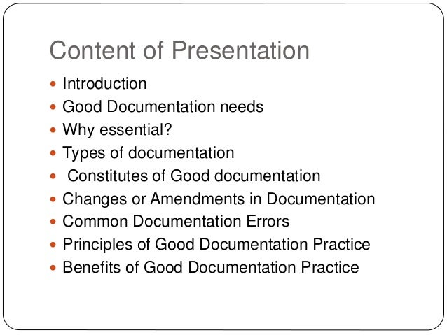 Good documentation practices guidelines fdating