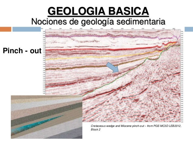 GEOLOGIA BASICA Nociones de geología sedimentaria Pinch - out Cretaceous wedge and Miocene pinch-out – from PGS MC3D LEB20...