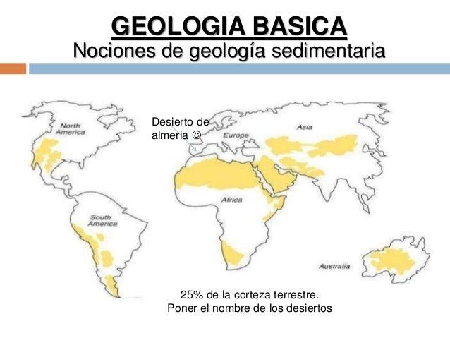 GEOLOGIA BASICA Nociones de geología sedimentaria 25% de la corteza terrestre. Poner el nombre de los desiertos Desierto d...