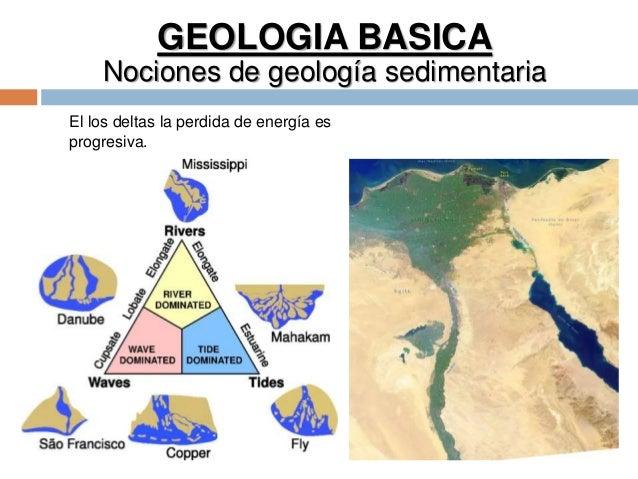 GEOLOGIA BASICA Nociones de geología sedimentaria El los deltas la perdida de energía es progresiva.
