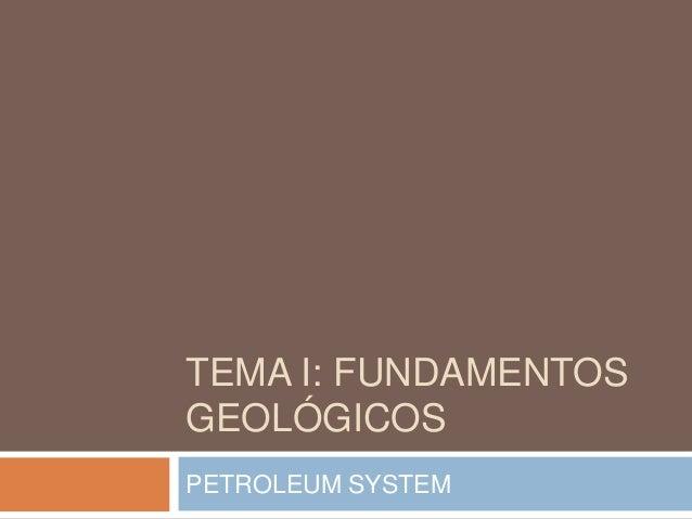 TEMA I: FUNDAMENTOS GEOLÓGICOS PETROLEUM SYSTEM