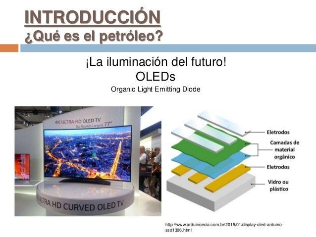 INTRODUCCIÓN ¿Qué es el petróleo? ¡La iluminación del futuro! OLEDs Organic Light Emitting Diode http://www.arduinoecia.co...