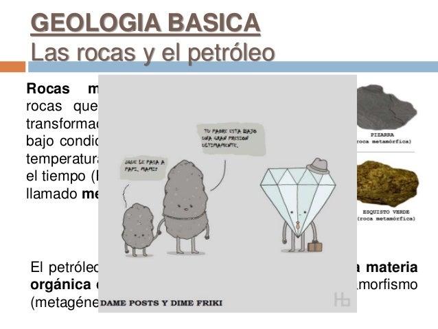 GEOLOGIA BASICA Las rocas y el petróleo Rocas metamórficas son rocas que provienen de la transformación de otras rocas baj...