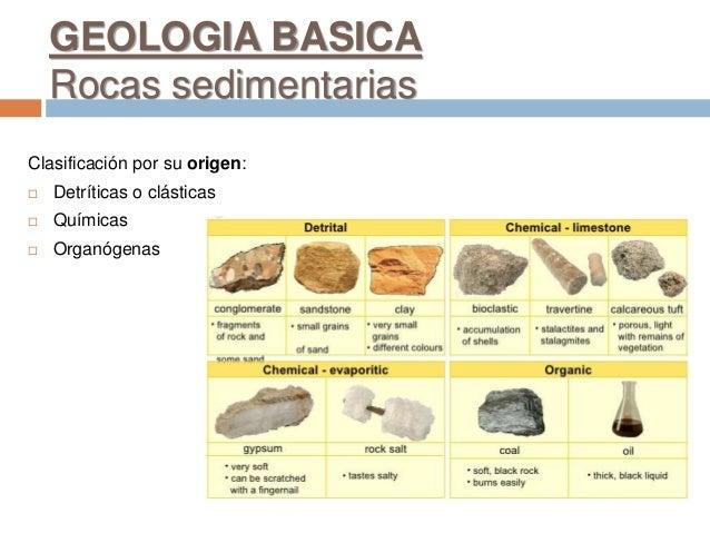 GEOLOGIA BASICA Rocas sedimentarias Clasificación por su origen:  Detríticas o clásticas  Químicas  Organógenas