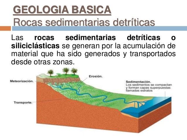 GEOLOGIA BASICA Rocas sedimentarias detríticas Las rocas sedimentarias detríticas o siliciclásticas se generan por la acum...