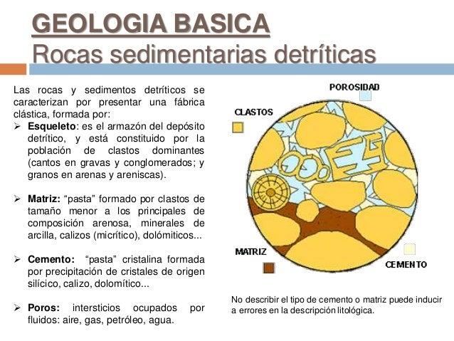 Las rocas y sedimentos detríticos se caracterizan por presentar una fábrica clástica, formada por:  Esqueleto: es el arma...