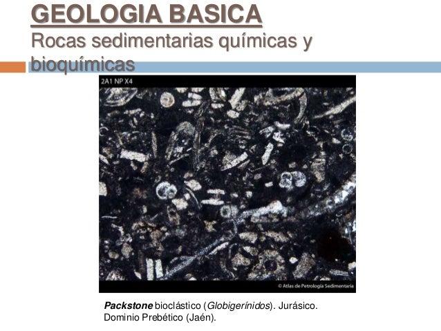 Packstone bioclástico (Globigerínidos). Jurásico. Dominio Prebético (Jaén). GEOLOGIA BASICA Rocas sedimentarias químicas y...