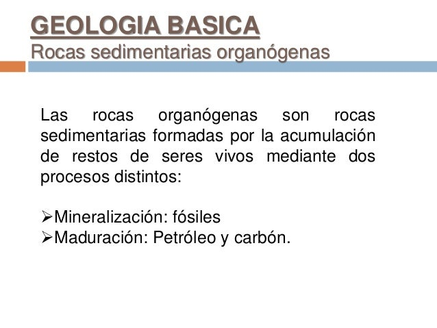 GEOLOGIA BASICA Rocas sedimentarias organógenas Las rocas organógenas son rocas sedimentarias formadas por la acumulación ...