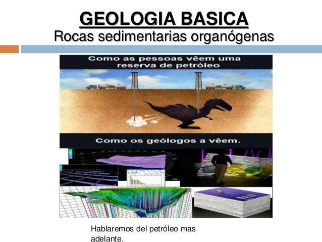 GEOLOGIA BASICA Rocas sedimentarias organógenas Hablaremos del petróleo mas adelante.