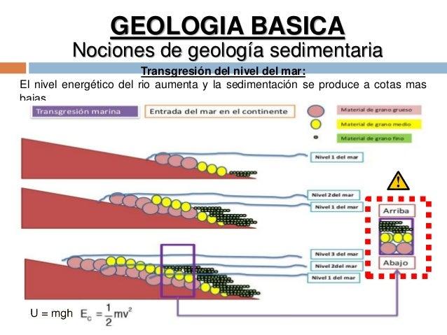 GEOLOGIA BASICA Nociones de geología sedimentaria Transgresión del nivel del mar: El nivel energético del rio aumenta y la...
