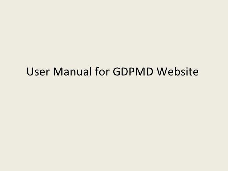 User Manual for GDPMD Website