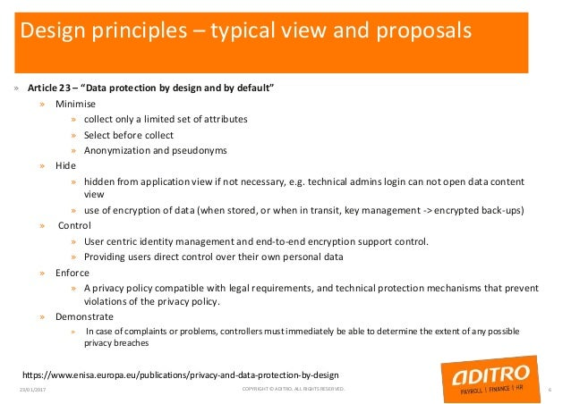 """Design principles – typical view and proposals » Article 23 – """"Data protection by design and by default"""" » Minimise » coll..."""